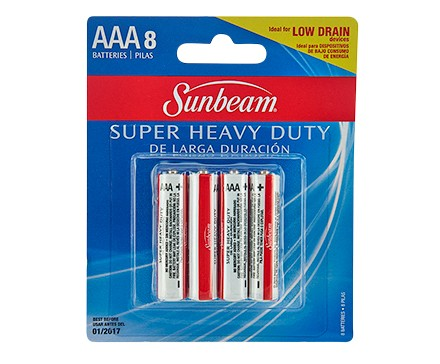 SUNBEAM AAA SUPER HEAVY DUTY - 8 PACK, BLISTERCARD