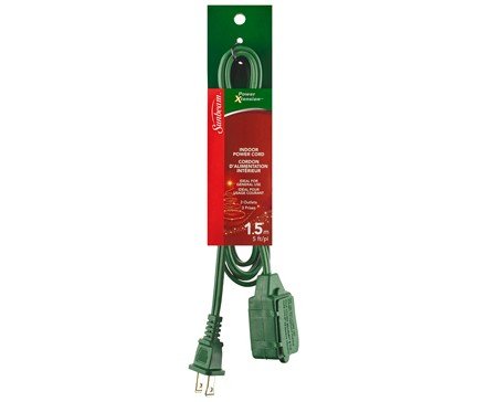 SUNBEAM 5' (1.5M) EXTENSION CORD, GREEN, COLOR SLEEVE