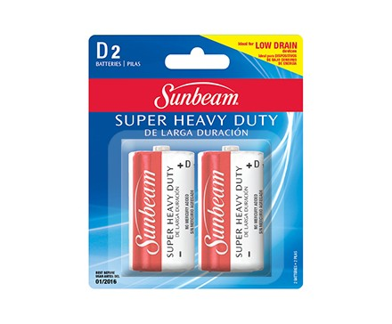 SUNBEAM D SUPER HEAVY DUTY - 2 PACK, BLISTERCARD