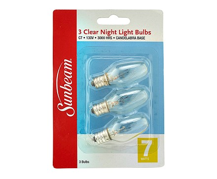 SUNBEAM C7 NIGHT LIGHT 7W, CLEAR - 3 PACK, BLISTERCARD