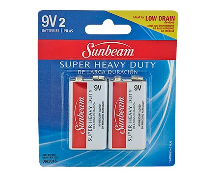 SUNBEAM 9V SUPER HEAVY DUTY - 2 PACK, BLISTERCARD