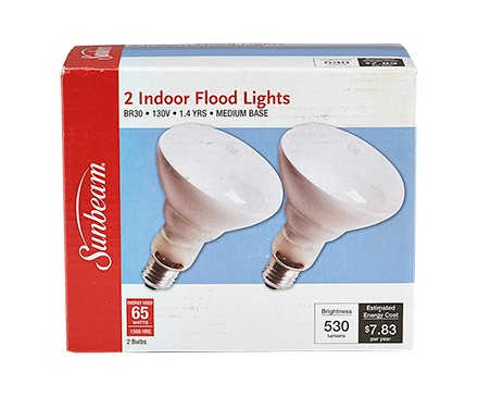 SUNBEAM BR30 65W, FROSTED - 2 PACK, COLOR BOX