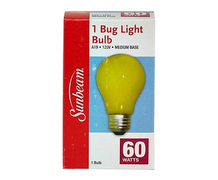 SUNBEAM A19 BUG LIGHT 60W, YELLOW, COLOR BOX