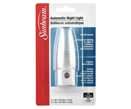 SUNBEAM 4W AUTOMATIC NIGHT LIGHT WITH SENSOR, CLAMSHELL