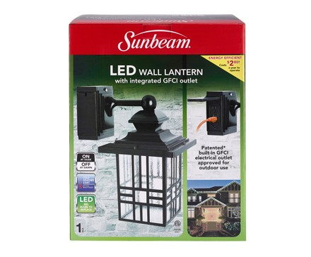 SUNBEAM LARGE MISSION LED WALL LANTERN WITH GFCI, COLOR BOX