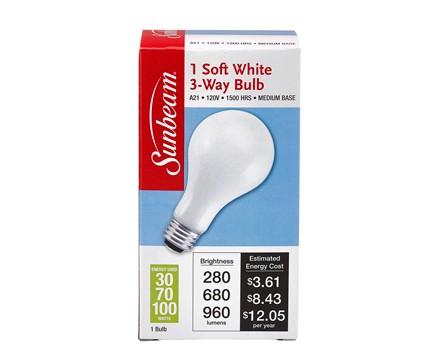 SUNBEAM A21 3-WAY 30-70-100W, SOFT WHITE, COLOR BOX