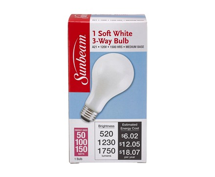 SUNBEAM A21 3-WAY 50-100-150W, SOFT WHITE, COLOR BOX