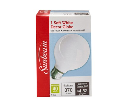 SUNBEAM G25 40W, SOFT WHITE, COLOR BOX