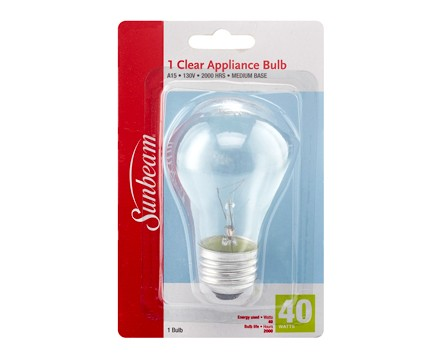 SUNBEAM A15 APPLIANCE/FAN 40W, CLEAR, BLISTERCARD