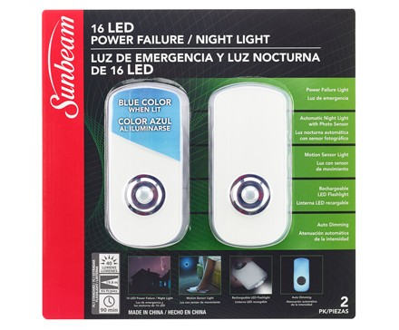 SUNBEAM 16 LED POWER FAILURE / NIGHT LIGHT, 120V - 2 PACK, TRAPPED BLISTER