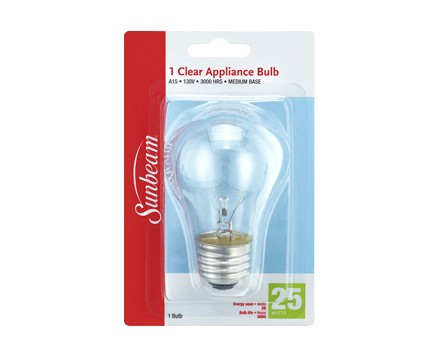SUNBEAM A15 APPLIANCE/FAN 25W, CLEAR, BLISTERCARD