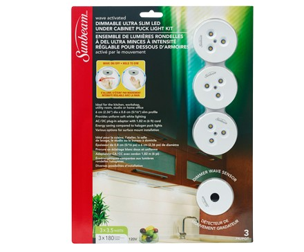 Sunbeam Dimmable Led Under Cabinet Puck Light Kit Wave Activated 3 Pack Blister L Image Home Products