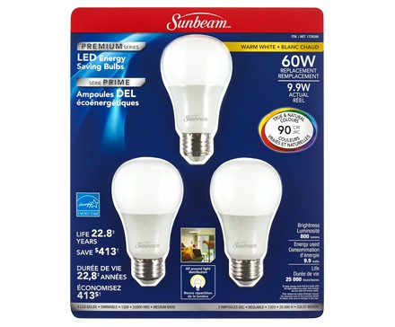 SUNBEAM A19 LED PREMIUM SERIES 9.9W - 3 PACK, TRAPPED BLISTER