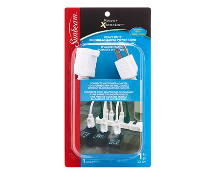 "SUNBEAM 12"" EXTENSION CORD, 2 OUTLET ADAPTERS, WHITE, BLISTERCARD"