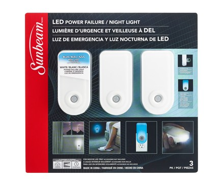 SUNBEAM LED POWER FAILURE / NIGHT LIGHT - 3 PACK, TRAPPED BLISTER