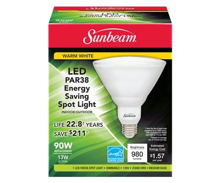 SUNBEAM PAR38 LED 13W, 90W REPLACEMENT, COLOR BOX