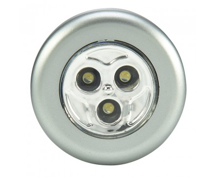 3 LED ROUND STICK-ON PUSH LIGHT, METALLIC COLORS