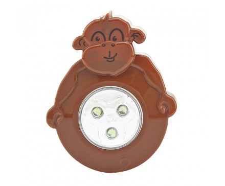 3 LED ANIMAL SHAPED STICK-ON PUSH LIGHT, MONKEY
