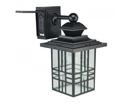 "14"" MISSION STYLE WALL LANTERN WITH BUILT-IN ELECTRICAL OUTLET (GFCI)"