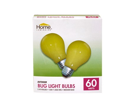 HOME LUMINAIRE A19 BUGLIGHT 60W, YELLOW - 2 PACK, COLOR BOX