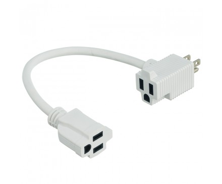 "12"" (30 CM) HEAVY DUTY EXTENDER CORD WITH 2 OUTLETS, WHITE"