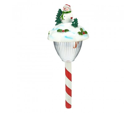 "17.5"" POLYRESIN SNOWMAN HEAD SOLAR LIGHT"