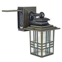 """13"""" MISSION STYLE WALL LANTERN WITH BUILT-IN ELECTRICAL ..."""