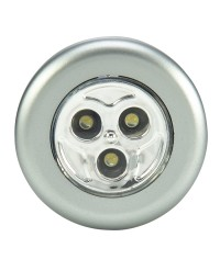 3 LED ROUND STICK-ON PUSH LIGHT, METALLIC COLORS