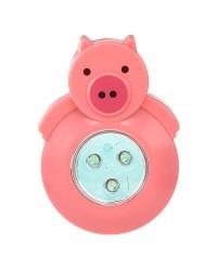 3 LED ANIMAL SHAPED STICK-ON PUSH LIGHT, PINK PIG