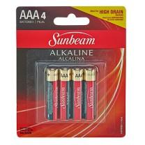 SUNBEAM AAA ALKALINE - 4 PACK, BLISTERCARD