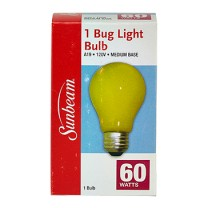 SUNBEAM A19 BUG LIGHT 60W, YELLOW, COLOR BOX