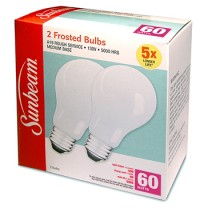 SUNBEAM A19 RS 60W/130V/5000H, FROSTED - 2 PACK, COLOR BOX