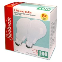 SUNBEAM A19 RS 100W/130V/5000H, FROSTED - 2 PACK, COLOR BOX