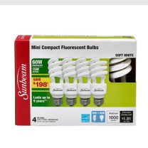 SUNBEAM SPIRAL CFL 15W, 60W REPLACEMENT - 4 PACK, COLOR BOX