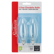 SUNBEAM CHANDELIER 40W, CANDELABRA BASE - 2 PACK, BLISTERCARD