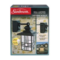 SUNBEAM LARGE MISSION STYLE WALL LANTERN WITH GFCI, COLOR BOX
