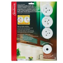 SUNBEAM DIMMABLE LED UNDER CABINET PUCK LIGHT KIT, WAVE ACTIVATED, 3 PACK - BLISTER