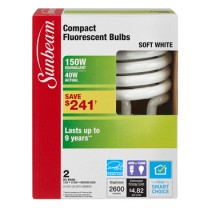 SUNBEAM SPIRAL CFL 40W - 2 PACK, COLOR BOX