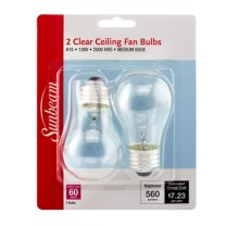 SUNBEAM A15 CEILING FAN 60W, CLEAR - 2 PACK, BLISTERCARD