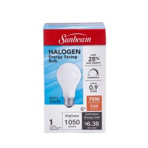 SUNBEAM A19 HALOGEN 53W, 75W REPLACEMENT, DIMMABLE, COLOR BOX