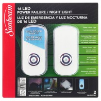 SUNBEAM 16 LED POWER FAILURE / NIGHT LIGHT, 120V - 2 PACK, TRAPPED BLISTER