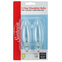 SUNBEAM CHANDELIER 25W, CANDELABRA BASE - 2 PACK, BLISTERCARD