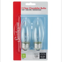 SUNBEAM CHANDELIER 25W, MEDIUM BASE - 2 PACK, BLISTERCARD