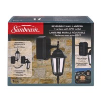 SUNBEAM REVERSIBLE WALL LANTERN WITH GFCI, COLOR BOX