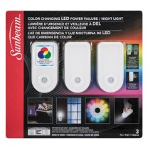 SUNBEAM COLOR CHANGING LED POWER FAILURE / NIGHT LIGHT, TRAPPED BLISTER