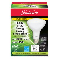 SUNBEAM BR30 LED 9W, 65W REPLACEMENT, COLOR BOX