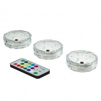 SUBMERSIBLE LED PUCK LIGHT KIT WITH REMOTE CONTROL