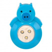 3 LED ANIMAL SHAPED STICK-ON PUSH LIGHT, BLUE PIG