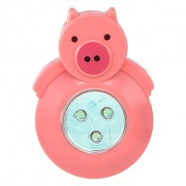 3 LED ANIMAL SHAPED STICK-ON PUSH LIGHT, PINK PIG