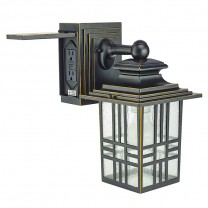 "13"" MISSION STYLE WALL LANTERN WITH BUILT-IN ELECTRICAL OUTLET (GFCI)"